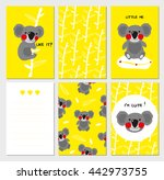 set of cards with cute koala...