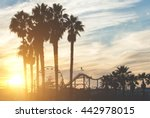 santa monica pier with palms... | Shutterstock . vector #442978015