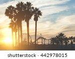 Santa Monica Pier With Palms...