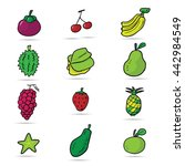 asian fruits cartoon drawing... | Shutterstock .eps vector #442984549