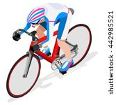 track cycling cyclist bicyclist ... | Shutterstock .eps vector #442985521