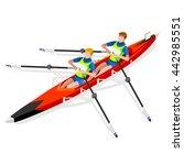 canoe rowing team sportsman... | Shutterstock .eps vector #442985551