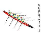 isometric canoe rowing... | Shutterstock .eps vector #442985569
