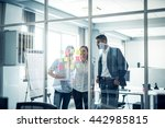 cropped shot of coworkers using ... | Shutterstock . vector #442985815