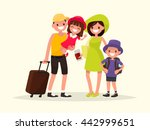 happy family is going on the... | Shutterstock .eps vector #442999651