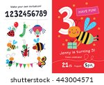 birthday invitation. collection ... | Shutterstock .eps vector #443004571