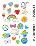 happy colorful patches... | Shutterstock .eps vector #443008165