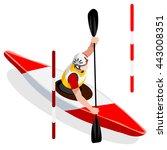 kayak slalom canoe sportsman... | Shutterstock .eps vector #443008351