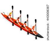 kayak sprint four sportsman... | Shutterstock .eps vector #443008387