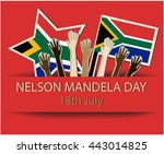nelson mandela greeting card or ... | Shutterstock .eps vector #443014825