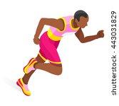running 100 metres dash... | Shutterstock .eps vector #443031829
