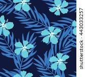 tropical seamless pattern. palm ... | Shutterstock .eps vector #443033257