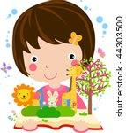 very cute little girl reading... | Shutterstock .eps vector #44303500