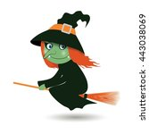 flying witch on a broom | Shutterstock .eps vector #443038069
