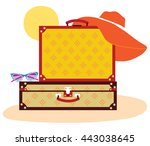 suitcases with sun and glasses... | Shutterstock .eps vector #443038645