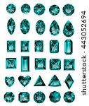 set of realistic blue amethyst... | Shutterstock .eps vector #443052694