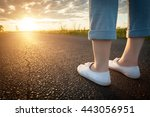woman in white sneakers... | Shutterstock . vector #443056951