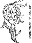 hand drawn dreamcatcher with... | Shutterstock .eps vector #443058184