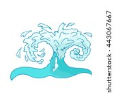 water wave icon isolated on... | Shutterstock . vector #443067667