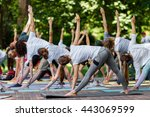 group free exercise class for... | Shutterstock . vector #443069599