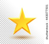 realistic gold glossy star icon.... | Shutterstock .eps vector #443077501