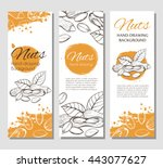 three vector flyers with linear ... | Shutterstock .eps vector #443077627