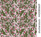 hollyhocks seamless pattern | Shutterstock . vector #443080669