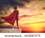 little child plays superhero.... | Shutterstock . vector #443087575