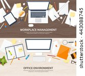 workplace in office with table... | Shutterstock .eps vector #443088745