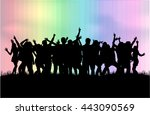 dancing people silhouettes.... | Shutterstock .eps vector #443090569