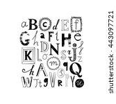 cute alphabet design. set of... | Shutterstock .eps vector #443097721