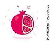 pomegranate vector illustration.... | Shutterstock .eps vector #443099731