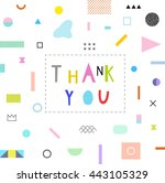 thank you card with geometric... | Shutterstock .eps vector #443105329