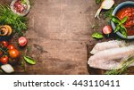 fresh raw fish fillet with... | Shutterstock . vector #443110411
