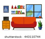 flat room with sofa. home...   Shutterstock .eps vector #443110744