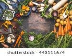 vegetables cooking ingredients... | Shutterstock . vector #443111674