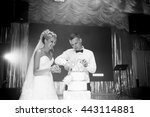 groom is trying to cut a... | Shutterstock . vector #443114881