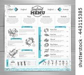 vintage seafood menu design.  | Shutterstock .eps vector #443115385