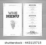 vintage wine menu design.... | Shutterstock .eps vector #443115715