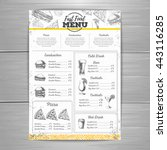 vintage fast food menu design | Shutterstock .eps vector #443116285