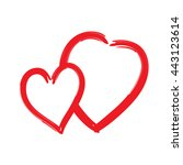 red hearts icon. brush texture... | Shutterstock .eps vector #443123614