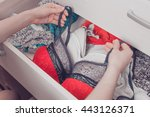 woman choosing sexy lace... | Shutterstock . vector #443126371