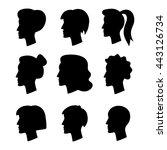 women's profile silhouette | Shutterstock .eps vector #443126734