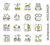 eco tourism icons set on white... | Shutterstock .eps vector #443134429