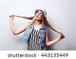 portrait of a beautiful hipster ... | Shutterstock . vector #443135449