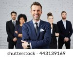 group of business people with... | Shutterstock . vector #443139169