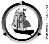 icon pirate sailing ship on... | Shutterstock . vector #443143765