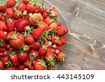 strawberries in a plate on...   Shutterstock . vector #443145109