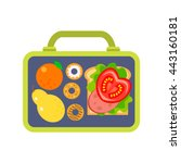 lunch box to school consisting... | Shutterstock .eps vector #443160181