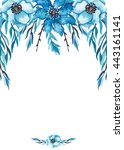 card with watercolor blue... | Shutterstock . vector #443161141